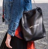 ■現貨在台■專櫃83折 ■Saint Laurent Paris 全新真品  YSL Teddy 軟羊皮抽繩兩用水桶包 黑色
