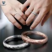 拉絲冷淡風情侶戒指 男女對戒簡約刻字鈦鋼飾品 日韓版指環尾戒