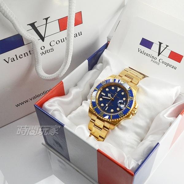 valentino coupeau 范倫鐵諾 夜光時刻不銹鋼防水男錶 潛水錶 藍水鬼 石英錶 金x藍 V61589KG金藍