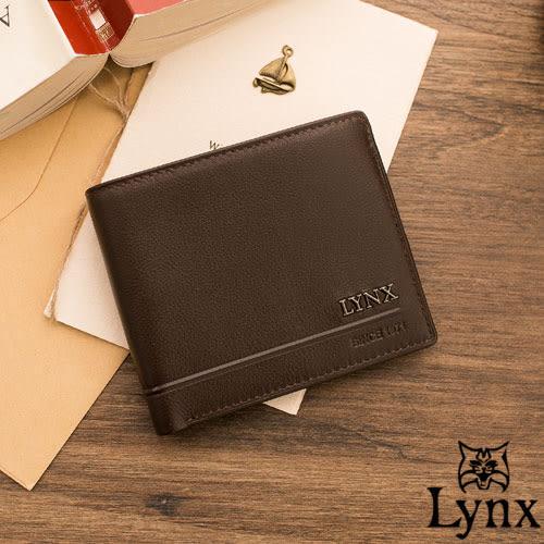 Lynx - 山貓簡約品味真皮款9卡1照短夾-咖