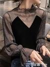 蕾絲打底衫 黑色絲絨上衣女秋冬洋氣小衫蕾絲內搭心機性感亮絲拼接網紗打底衫 智慧e家 新品
