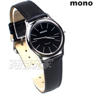 mono 簡約 高雅 設計美學 藍寶石水晶 真皮錶帶 小羊皮 女錶 黑色 5003B黑釘小