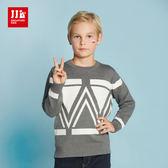 JJLKIDS 男童 英倫氣質幾何長袖毛衣 上衣(麻灰)