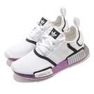 【五折特賣】adidas 休閒鞋 NMD R1 白 紫 BOOST 反光 炫光 男鞋 女鞋 小白鞋 百搭款【ACS】 FZ0035