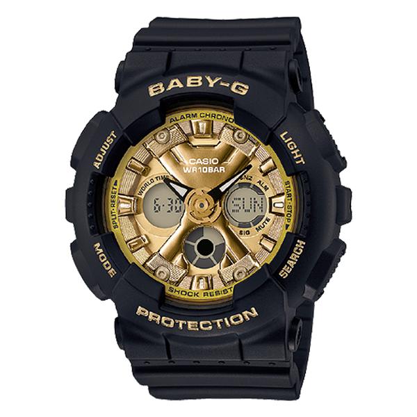 CASIO 卡西歐 手錶專賣店 BABY-G CASIO BA-130-1A3 風格時尚雙顯女錶 黑金 樹脂錶帶 防水100米