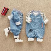 嬰兒連身衣網紅嬰兒連身衣服春秋可愛男女寶寶牛仔爬爬服超萌新生幼兒春裝潮 金曼麗莎