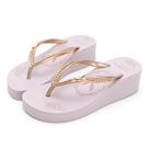 PLAYBOY 復古美型 夾腳厚底拖鞋-粉紫(YT707)