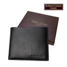 【Roberta Colum】諾貝達 男用皮夾 短夾 專櫃皮夾 進口軟牛皮短夾(黑色-24001)【威奇包仔通】