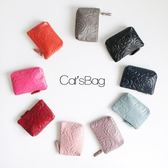 韓版山茶花皮革鑰匙圈零錢包-Catsbag-00180619