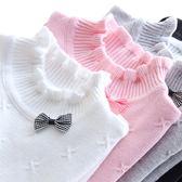 秋冬款女童毛衣純棉打底衫半高領白色針織衫寶寶兒童套頭線衣 森雅誠品