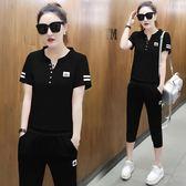 新款2018夏天女潮兩件套寬鬆大碼時尚休閒短袖T恤七分褲運動套裝 DN9960【Pink中大尺碼】