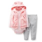 【美國Carter's】套裝3件組 - 粉紅豹紋連帽保暖背心+長袖包屁衣+長褲 121C799