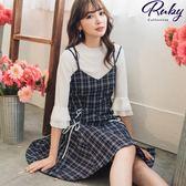 洋裝 格紋綁帶兩件式七分袖洋裝-Ruby s 露比午茶
