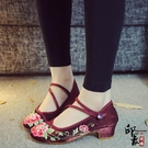 復古民族風旗袍配鞋繡花鞋淺口景泰藍扣子布鞋女單鞋舞蹈鞋 萬聖節鉅惠