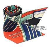 【Hermes 愛馬仕】Sangles en Zigzag皮帶圖案Twilly絲巾領結(橘X瀉湖綠)