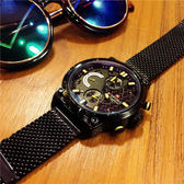 歐美時尚潮流全黑手錶精鋼帶大錶盤男錶多功能防水軍錶石英錶 英雄聯盟