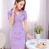 ZY-7169-PF氣質V領簡約條紋釘釦造型連衣裙洋裝~美之札