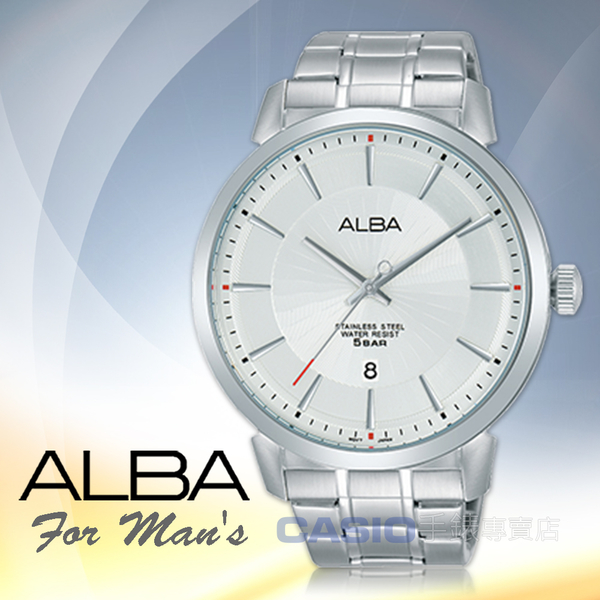 ALBA 雅柏 手錶專賣店   AS9E65X1 石英男錶 不鏽鋼錶帶 銀白 防水50米 日期顯示 全新品