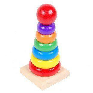 嬰幼兒智力益智玩具 兒童木制玩具 套圈 彩虹塔 疊疊樂