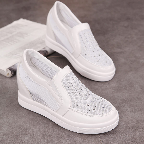 休閒鞋 甜美水鑽網紗鞋 坡跟镂空 透氣女鞋  內增高   懶人鞋【莎芭】現貨+預購