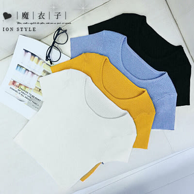 【QV1160】魔衣子-簡約純色修身顯瘦針織短版上衣