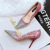 性感尖頭鞋子 高跟鞋細跟亮片OL顯瘦拼色鞋《小師妹》sm1356