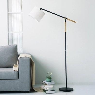 北歐宜家落地燈創意實木客廳臥室書房現代間約可調節立式釣魚臺燈