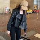 外套2020新款女裝春秋冬百搭韓版寬鬆PU皮衣夾克短款機車長袖上衣YQ405
