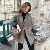 西裝外套 韓版 復古格子百搭chic寬鬆風衣大衣 花漾小姐【預購】