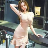 夜店性感女裝低胸V領高腰包臀連身短裙