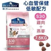*WANG*倍力BLUEBAY《心血管保健低敏配方-S30雞肉+燕麥》7.5KG 犬飼料