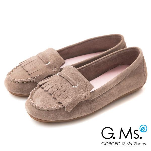 G.Ms.* 牛麂皮減壓豆豆底流蘇莫卡辛鞋-可可灰