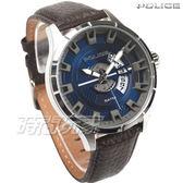 POLICE 義大利精品 粗曠大氣立體時刻時尚男錶 防水手錶 運動錶 日期窗 藍x咖啡真皮錶帶 14678JS-03