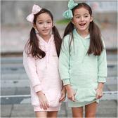 女童 女寶 居家服 居家上衣 長版T 珊瑚絨 長版 保暖 帽T 上衣 Augelute 50581