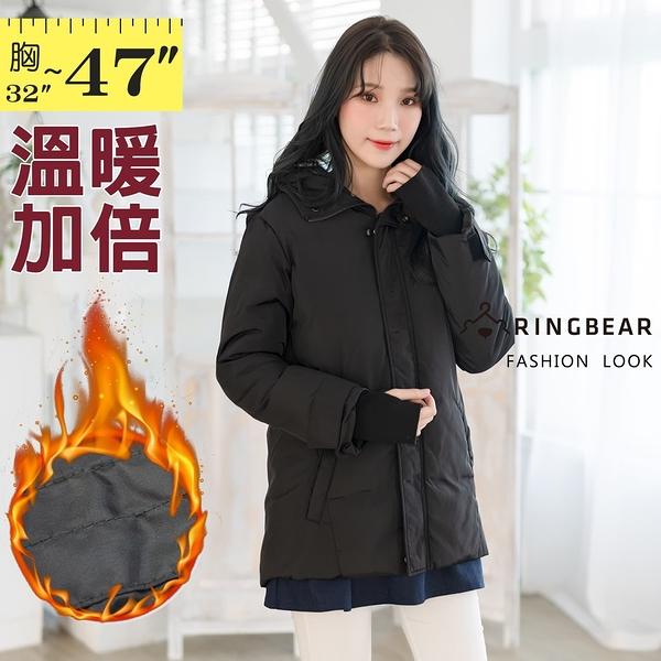 鋪棉外套--保暖帥氣魔鬼氈指套袖貼標拉鍊羽絨棉連帽大衣外套(黑M-3L)-J275眼圈熊中大尺碼