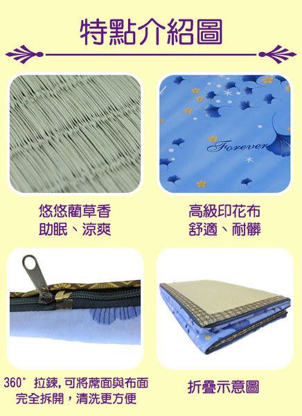 《家購網寢俱館》星辰系列-藺草折疊床墊-雙人 (藍銀杏)