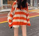 春季新品韓版慵懶風條紋撞色連帽套頭上衣(兩色可選)