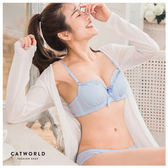 Catworld SWEET GIFT。緞帶蕾絲邊棉質內衣組(藍)【18801159】‧70B/75B/80B