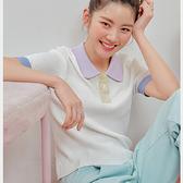 針織上衣 清新拼色質感短袖針織衫OM83547-創翊韓都
