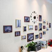 復古照片牆19框搭配壓克力時鐘掛鐘款相片牆客廳背景牆xw