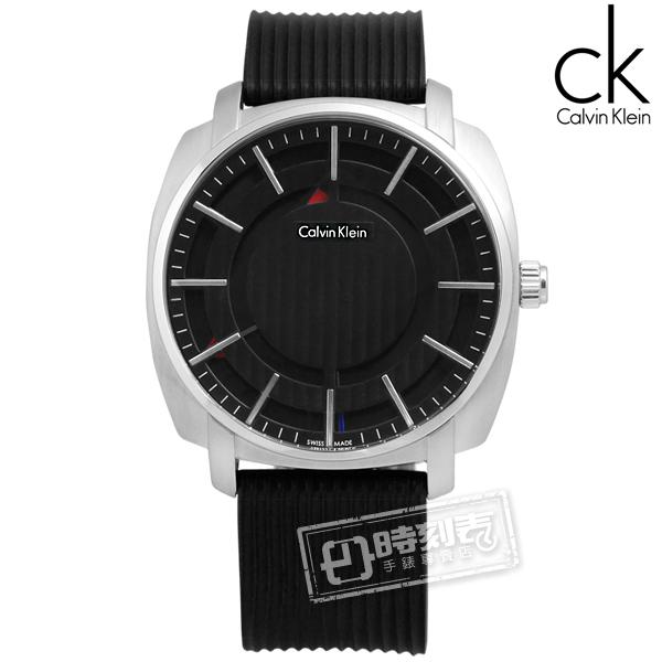 CK / K5M3X1D1 / Highline 尊爵立體層次線條矽膠腕錶 黑色 43mm
