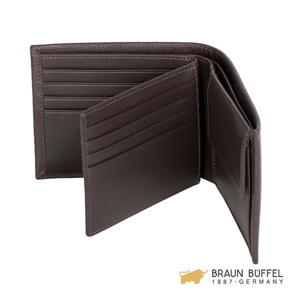 【BRAUN BUFFEL】提貝里烏斯-II系列8卡中間翻透明窗零錢袋皮夾 -咖啡色 BF348-318-ENY
