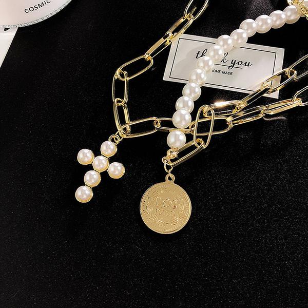 項鍊 復古 珍珠 十字架 錢幣 吊墜 個性 雙層 短款 鎖骨鍊 項鍊【DD1904116】 BOBI  05/09