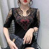 性感短t~重工鑲鉆短袖T恤女修身顯瘦女士上衣打底衫時尚tH329日韓屋