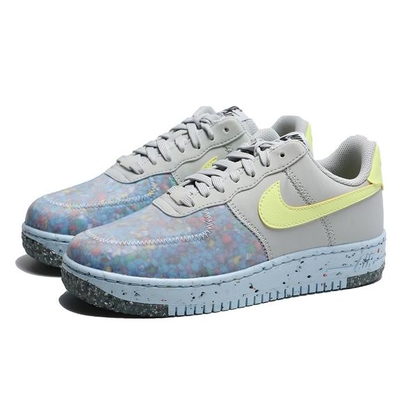 NIKE 休閒鞋 AIR FORCE 1 CRATER 灰藍黃 半透明 環保材質 女 (布魯克林) CT1986-001