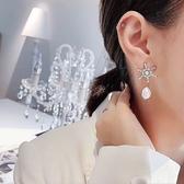 耳環 雪花 鑲鑽 珍珠 吊墜 造型 簡約 氣質 耳釘 耳環【DD1812064】 BOBI  03/07