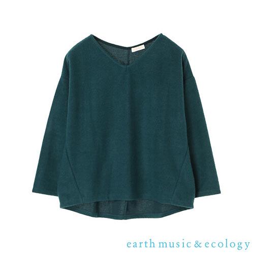 「Hot item」素面V領剪裁上衣 - earth music&ecology