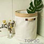 日式麻布加厚加大棉麻布藝收納桶臟衣籃束口帶蓋臟衣簍防水收納筐「Top3c」