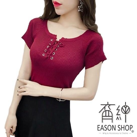EASON SHOP(GW6662)實拍坑條紋版短彈力貼身胸前交叉綁繩圓領短袖針織衫T恤繫帶女上衣服內搭衫黑紅