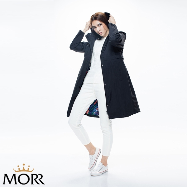 【MORR】Herench英倫風防水透氣風衣 【個性黑】防水/透濕/透氣/戶外活動